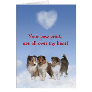 Cartão do amor de filhote de cachorro de Sheltie