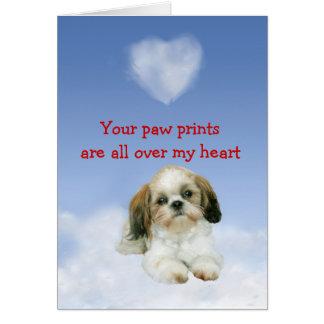 Cartão do amor de filhote de cachorro de Shih Tzu