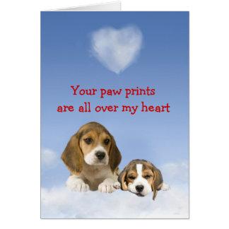 Cartão do amor de filhote de cachorro do lebreiro