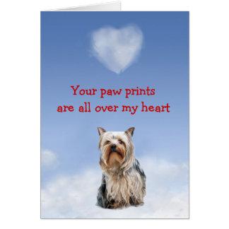 Cartão do amor de filhote de cachorro do yorkshire