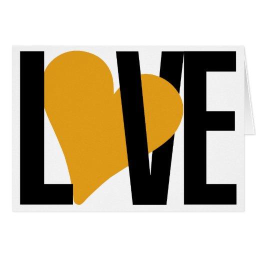 Cartão do amor & do coração (alaranjado)