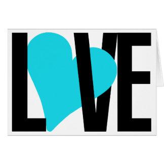 Cartão do amor & do coração (azul)