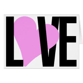 Cartão do amor do coração rosa