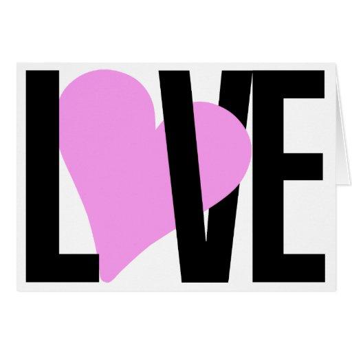 Cartão do amor & do coração (rosa)