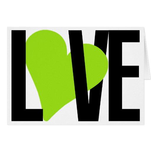 Cartão do amor & do coração (verde)