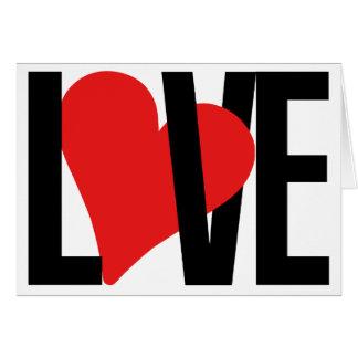 Cartão do amor & do coração (vermelho)
