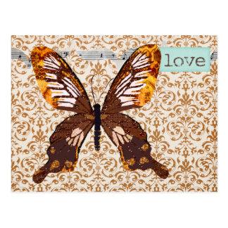 Cartão do amor do damasco da borboleta de Golddust Cartões Postais