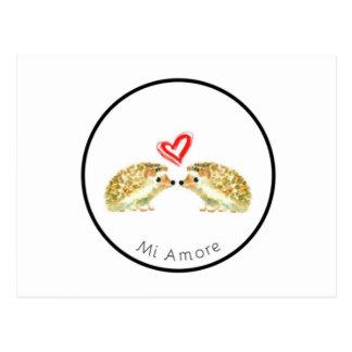Cartão do amor do ouriço