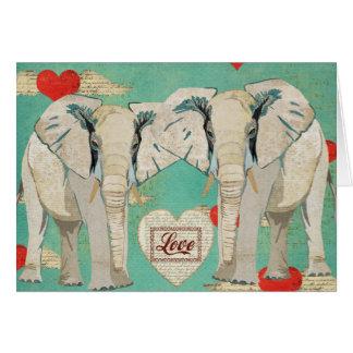 Cartão do amor dos elefantes brancos