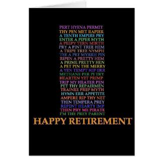 Cartão do anagrama da aposentadoria