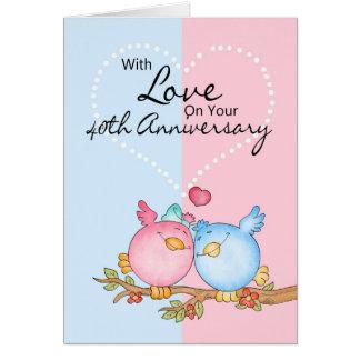cartão do aniversário - 40th pássaros do amor do a