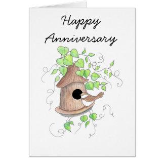 Cartão do aniversário, Chickadee no Birdhouse