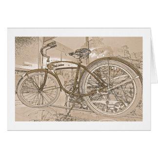 Cartão do aniversário com bicicleta do vintage