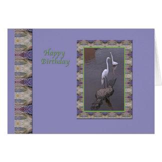 Cartão do aniversário com Egret e jacaré