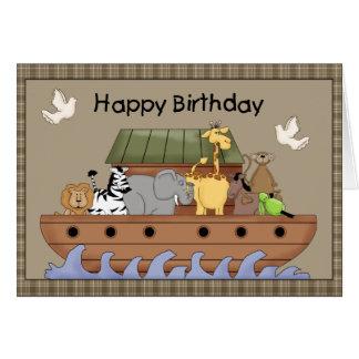 Cartão do aniversário da arca de Noah