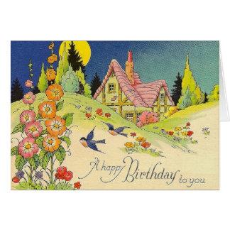 Cartão do aniversário da casa de campo do vintage