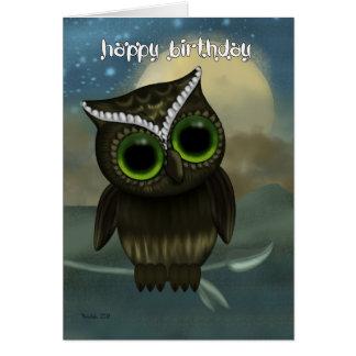 Cartão do aniversário da coruja, coruja de noite
