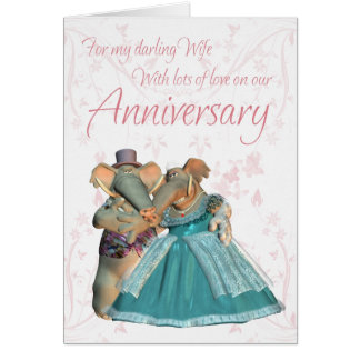 Cartão do aniversário da esposa com elefantes