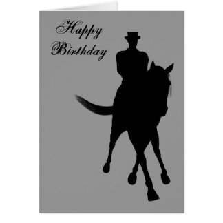 Cartão do aniversário da silhueta do cavalo do