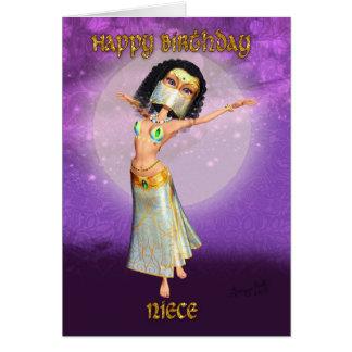 Cartão do aniversário da sobrinha com dançarino bo