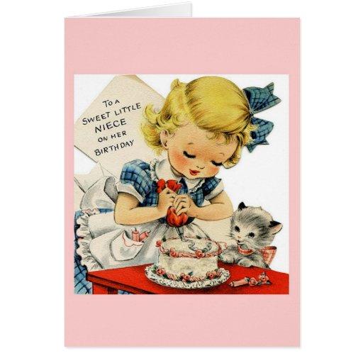 Cartão do aniversário da sobrinha do vintage
