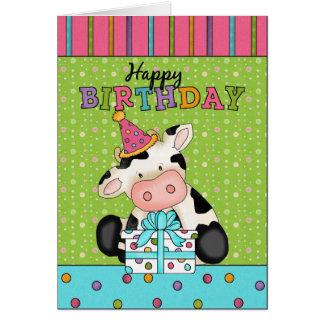 Cartão do aniversário da vaca
