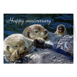 Cartão do aniversário das lontras
