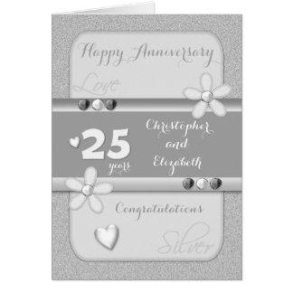 Cartão do aniversário de casamento de prata 25