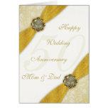 Cartão do aniversário de casamento do damasco 50th