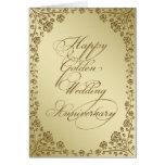 Cartão do aniversário de casamento dourado