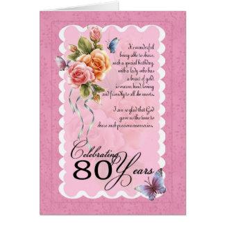 cartão do aniversário do 80 - rosas e borboleta