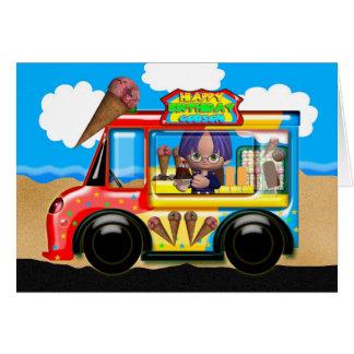 cartão do aniversário do caminhão do sorvete do go