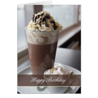cartão do aniversário do chocolate quente