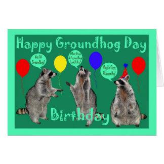 Cartão do aniversário do dia de Groundhog
