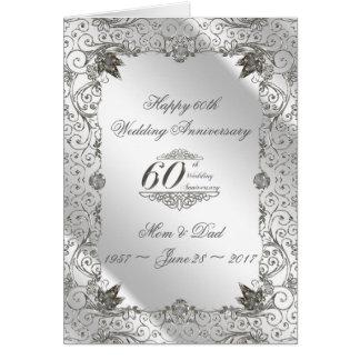 Cartão do aniversário do diamante 60th do Flourish