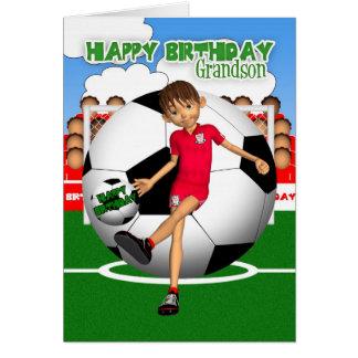 Cartão do aniversário do futebol do futebol do net