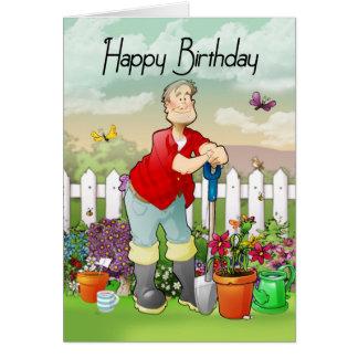 cartão do aniversário do jardineiro