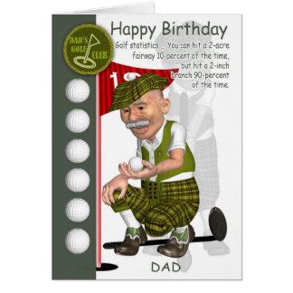 Cartão do aniversário do jogador de golfe do pai