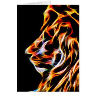 Cartão do aniversário do leão do Fractal