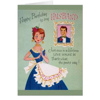Cartão do aniversário do marido do vintage