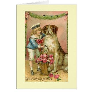 Cartão do aniversário do menino/cão do Victorian
