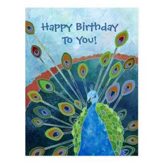 Cartão do aniversário do pavão cartoes postais