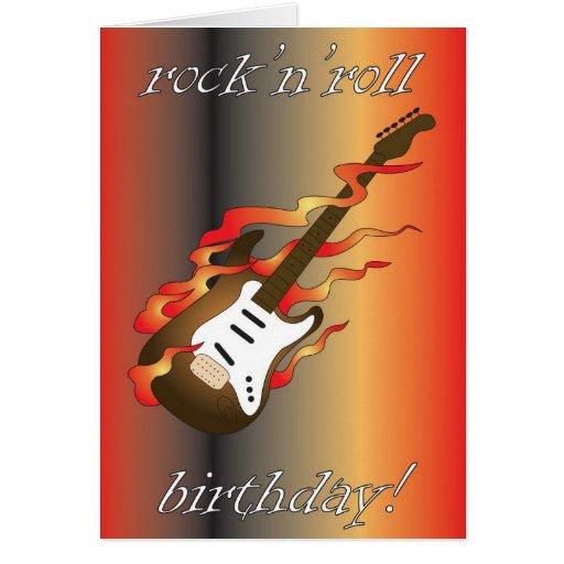 cartão do aniversário do rock and roll
