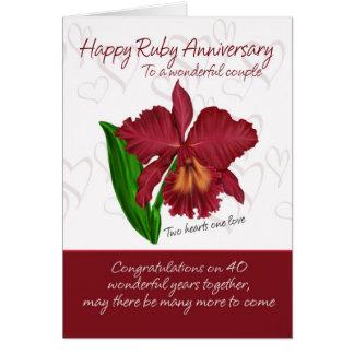 Cartão do aniversário do rubi - 40th cartão do ani