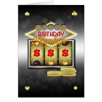 Cartão do aniversário do sobrinho com entalhes e m