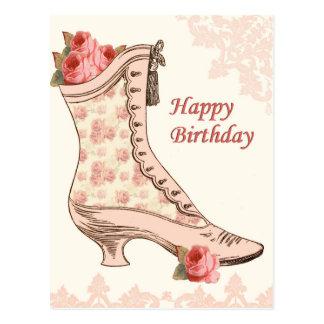 Cartão do aniversário do vintage com calçados e