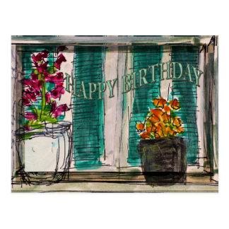 Cartão do aniversário dos Flowerpots