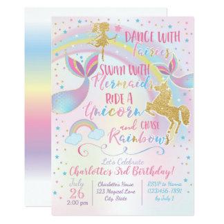 Cartão Do aniversário feericamente da sereia do unicórnio
