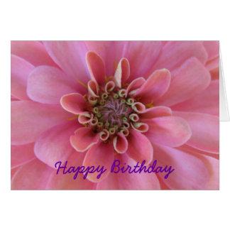 Cartão do aniversário, zinnia cor-de-rosa