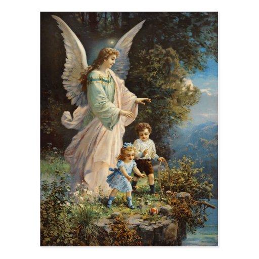 Cartão do anjo-da-guarda do vintage cartoes postais